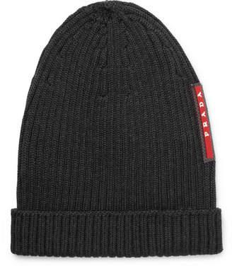 Prada Logo-Appliquéd Ribbed Wool Beanie