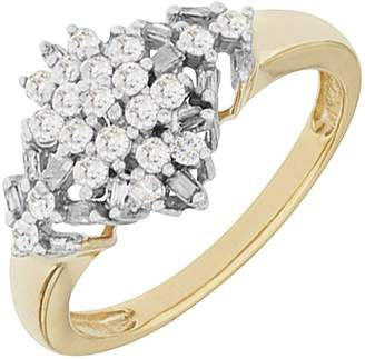 Marquis Love DIAMOND 9ct Yellow Gold 50 Point White Diamond Cluster Ring
