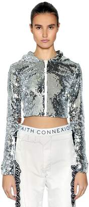 Faith Connexion Hooded Sequined Zip-Up Cropped Top