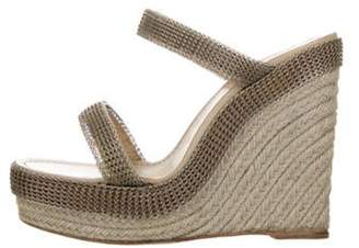 Christian Louboutin Woven Wedge Sandals Silver Woven Wedge Sandals
