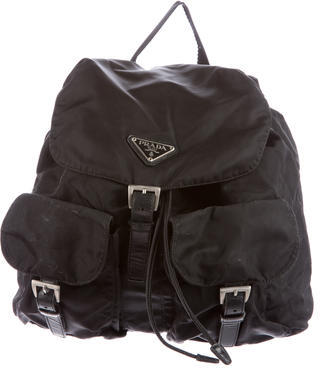 Prada Leather-Trimmed Tessuto Backpack $345 thestylecure.com