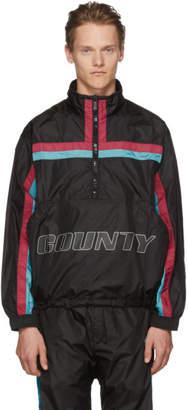 Marcelo Burlon County of Milan Black Color Band Half-Zip Jacket