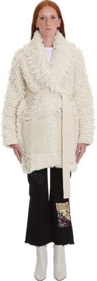 Alanui Coat In White Wool