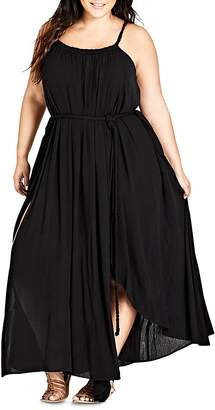 City Chic Plus Braided-Trim Maxi Dress