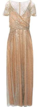 Jenny Packham Gathered Sequined Tulle Gown