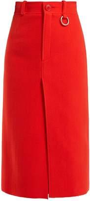 Balenciaga Slit-hem wool-blend pencil skirt