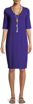 Eileen Fisher V-Neck Half-Sleeve Jersey Dress, Plus Size