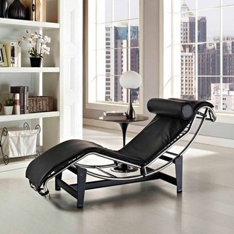 Modway LC4 Leather Chaise with Steel Frame, Multiple Colors