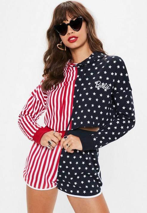 Barbie x Blue American Flag Cropped Hoodie