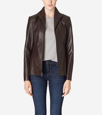 Cole Haan Italian Leather Wing Collar Jacket