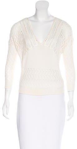 Saint LaurentSaint Laurent Open Knit V-Neck Sweater