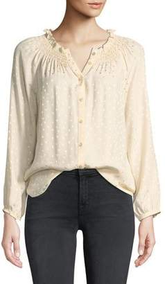 Rebecca Taylor Long-Sleeve Jacquard Silk Button-Front Top