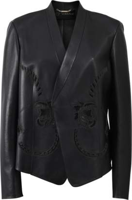 Versace Lace And Leather Blazer