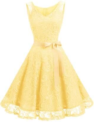 Dressystar Women Floral Lace Bridesmaid Party Dress Short Prom Dress V Neck XL