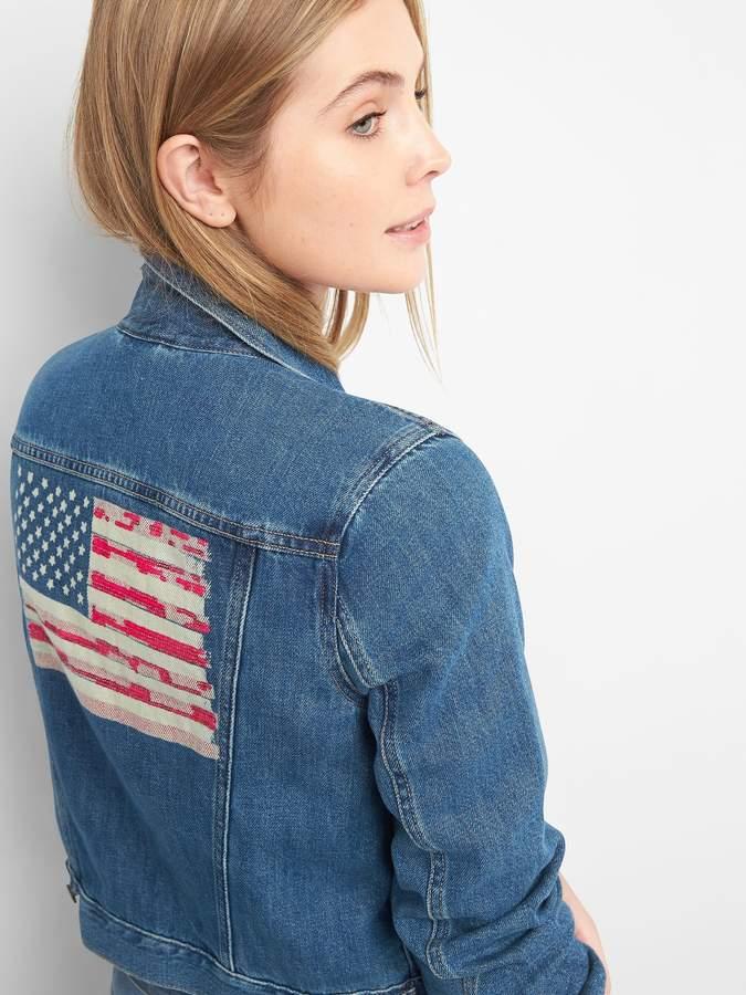 Sequin graphic denim jacket
