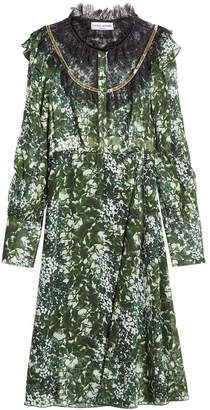 Sonia Rykiel Printed Silk Dress with Lace