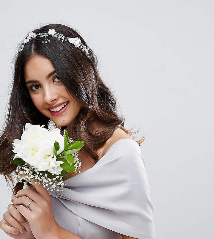 ASOS BRIDAL Faux Pearl & Flower Vine Hair Crown