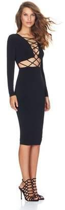 fullofhappy Sexy Clubwear Dress Cross Straps Front Long Sleeve Bodycon Bandage Dress Black S