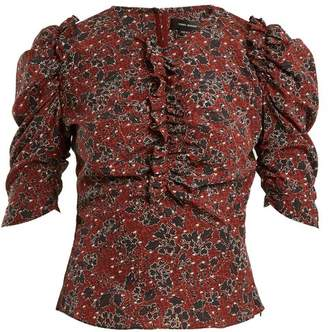 Isabel Marant Brizo Ruffle Trimmed Floral Print Stretch Silk Top - Womens - Burgundy Print
