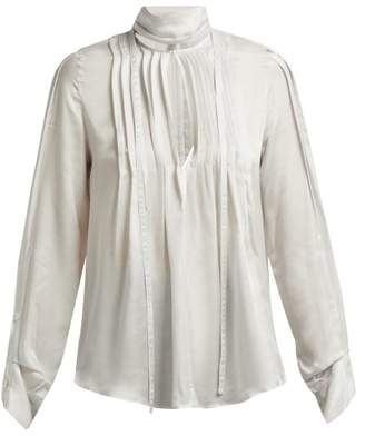 Ann Demeulemeester High Neck Pleated Front Blouse - Womens - Ivory