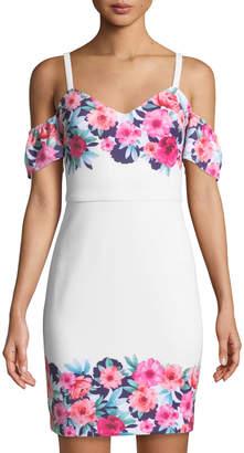 GUESS Cold-Shoulder Floral Bodycon Dress