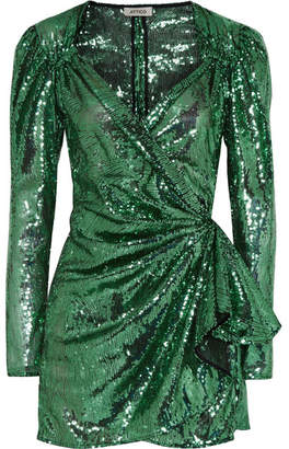 ATTICO Sequined Mesh Wrap Mini Dress - Green