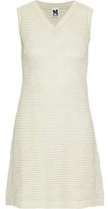M Missoni Metallic Ribbed And Pointelle-Knit Mini Dress