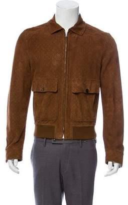 Gucci Geometric Pattern Suede Jacket