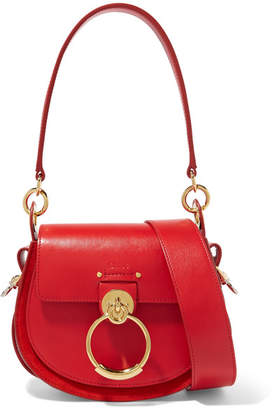 Chloé Tess Small Leather And Suede Shoulder Bag - Red