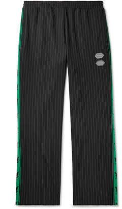 Off-White Off White Logo-Trimmed Pinstriped Stretch-Jersey Sweatpants - Men - Black