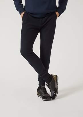 Emporio Armani Jogging Trousers In Full Milano With Elastic Cuffs
