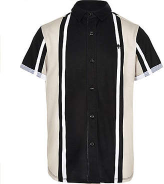 River Island Boys black vertical stripe shirt