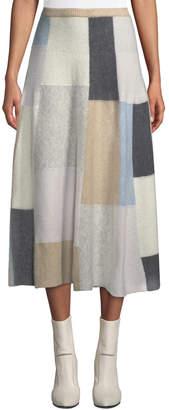 ADAM by Adam Lippes Patchwork Cashmere Midi Circle Skirt