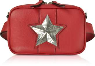 Les Jeunes Etoiles Red Leather Vega Belt Bag w/Chain Strap