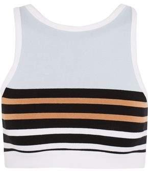 Striped Stretch-Cotton Sports Bra