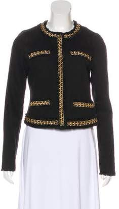 MICHAEL Michael Kors Leather-Trimmed Denim Jacket Black Leather-Trimmed Denim Jacket