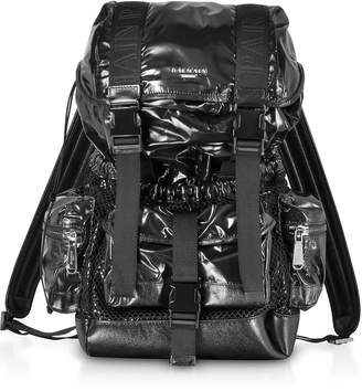 Balmain Black Shiny Nylon And Metallic Mesh Men's Backpack