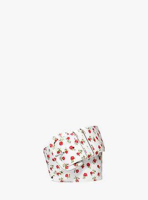Michael Kors Rosebud Calf Leather Wide Belt