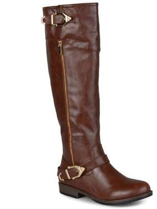 Brinley Co. Womens Round Toe Buckle Detail Boots