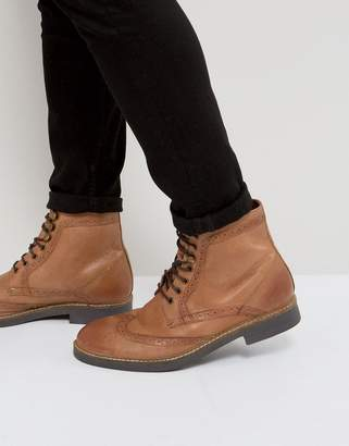 Frank Wright Milled Brogue Boots Tan Leather