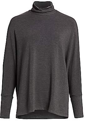Majestic Filatures Women's Relax-Fit French Terry Turtleneck Sweater
