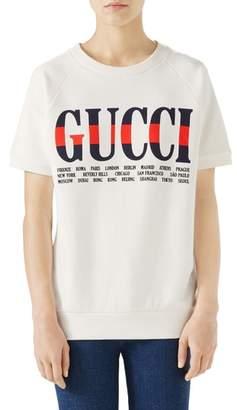 Gucci Logo Short Sleeve Cotton Sweatshirt