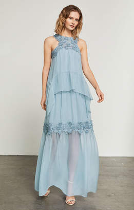 BCBGMAXAZRIA Lace Applique Silk Halter Gown