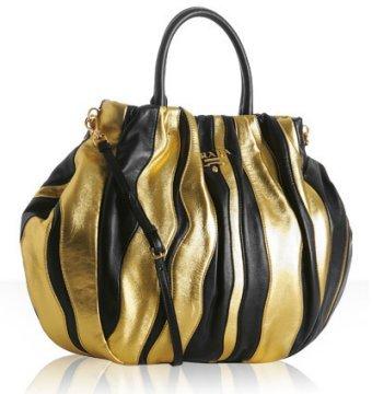Prada black and gold lambskin 'Nappa Stripes' tote