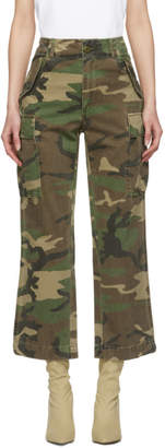 R 13 Green and Brown Camo traight Cargo Pants