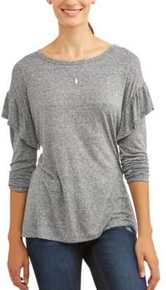 abae1e22277 Time and Tru Women s Long Sleeve Ruffle T-Shirt