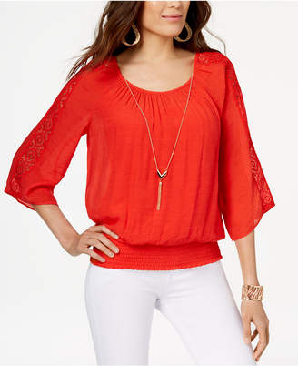 Thalia Sodi Crochet-Trimmed Smocked Gauze Top with Necklace, Created for Macy's