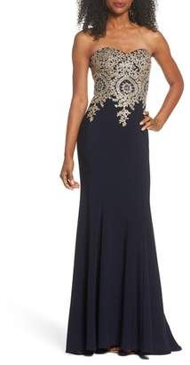 Xscape Evenings Corset Back Embellished Strapless Gown