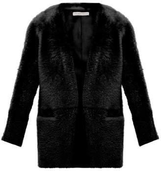 Inès & Marèchal Egypte Collarless Shearling Coat - Womens - Black