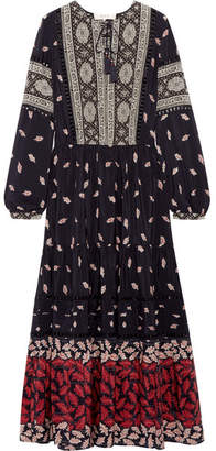 SEA - Eloise Crochet-trimmed Printed Silk Crepe De Chine Maxi Dress - Navy $650 thestylecure.com